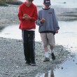 Two Boys Collecting Shells At Beach — Stock Photo