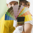 Couple Holding Paint Swatches — Stock Photo