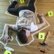 Stock Photo: Crime Scene With Tape Around Deceased Person