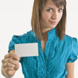 Stock Photo: WomHolding Blank Business Card