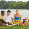 Three Friends Having A Picnic By The Water — Stock Photo