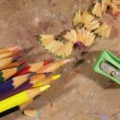 Coloured Pencils, Pencil Sharpener And Pencil Shavings — Stock Photo