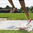 Woman Doing Long Jump — Stock Photo