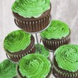Green Icing On Chocolate Cupcakes For Saint Patrick's Day — Stock Photo