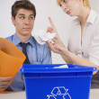Woman Scolding Man For His Recycling Habits — Stock Photo