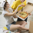 Couple Eating Pizza — Stock Photo
