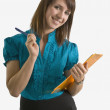 Woman Holding A Clipboard And A Pen — Stock Photo