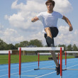 Man runs at the speed of steeplechase — Stock Photo