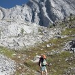 Female Hiker On Rocky Trail, Kananaskis Country, Alberta, Canada — Stock Photo