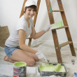 Woman Painting Wall — Stock Photo