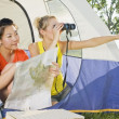 Two Girl Friends Sitting In A Tent  — Stock Photo