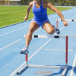 Girl runs at the speed of steeplechase — Stock Photo