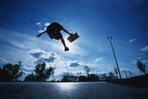 Skateboarder Jumping In Skate Park — Stock Photo