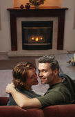 Couple Kisses By Fire — Foto de Stock