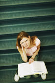 Student Studying On Stairs — Stock Photo