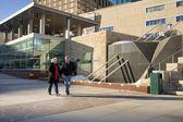 Senior Couple Walking Through Churchill Square, Edmonton, Alberta, Canada — Stock Photo