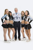 Cheerleaders Standing With Teacher — Stock Photo