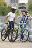 Cyclists On A Bridge — Stockfoto