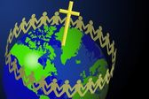 Paper Men Circling Around The Globe — Stock Photo