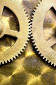 Gears From Inside A Wind-Up Clock — Stock Photo