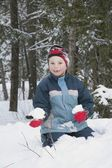 Boy Holding A Snowball — Stock Photo