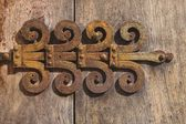 Old Decorative Hinge On Door — Stock Photo