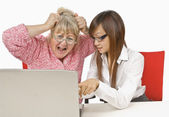 Student Showing Frustrated Teacher How To Use A Computer — Stock Photo