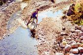 Trail Rider Crossing Creek — Стоковое фото