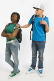 Teenage Boy With His Hand On Girl's Shoulder — Stock Photo