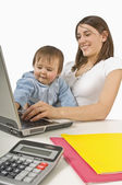 Mother And Baby Playing With Laptop — Stok fotoğraf