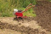 Motor Hoe In A Partly Ploughed Field — Stock Photo