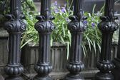 Ornate Railing With A Flower Box Behind. Troutdale, Oregon, USA — Stock Photo