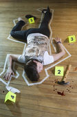 Crime Scene With Tape Around Deceased Person — Stock Photo