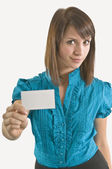 Woman Holding A Blank Business Card — Stock Photo