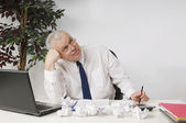Frustrated Businessman Sitting At Desk — Stock Photo