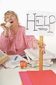 Overworked Teacher — Stock Photo