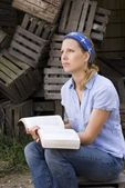 Female Missionary With Open Bible — Stock Photo