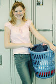 Student Does Laundry On Campus — Stock Photo