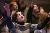 Woman Raising Hands In Worship — Stock Photo