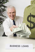 Business Loans Officer Holding Money — Photo