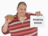 Man With Diabetes Holding A Stack Of Chocolate Chip Cookies — Stock Photo