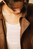 Young Man In Brown Leather Jacket — Stock Photo