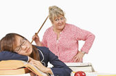 Angry Teacher Looking At Sleeping Student — Stock Photo