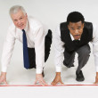 Two Businessmen Ready To Race — Stock Photo