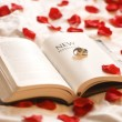 New Testament And Wedding Rings — Stock Photo