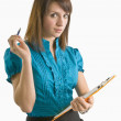 Woman Holding A Clipboard And A Pen — Stock Photo #31950799