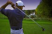 Follow Through Of Golfer's Tee Shot — Stock Photo