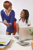 Two Businesswoman Talking — Stock Photo