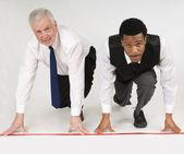 Two Businessmen Ready To Race — Stockfoto