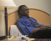 Man Watching Hotel Television — Stock Photo